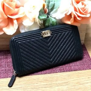 Chanel Chevron Zippy Wallet